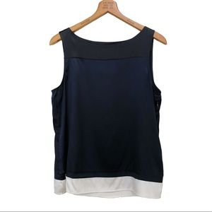 Theory Silk Shell Tank Top Color Block Navy Blue L